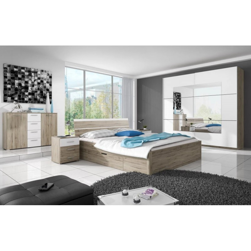 Łóżko 180 Beta z szufladami Typ 52 Helvetia Kolekcja Beta