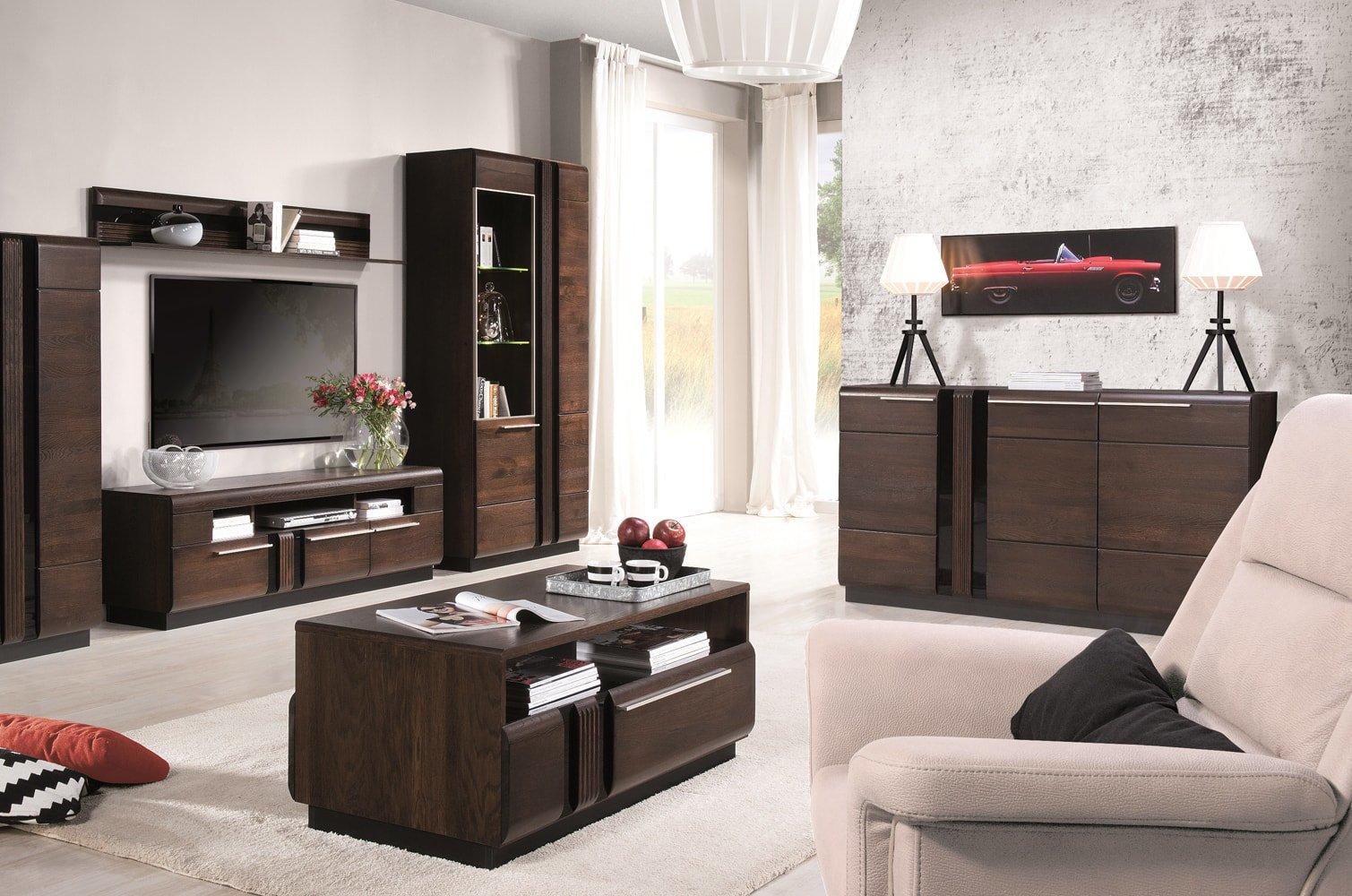 drewniane meble do salonu w kolorze dębu czekoladowego porti szynaka