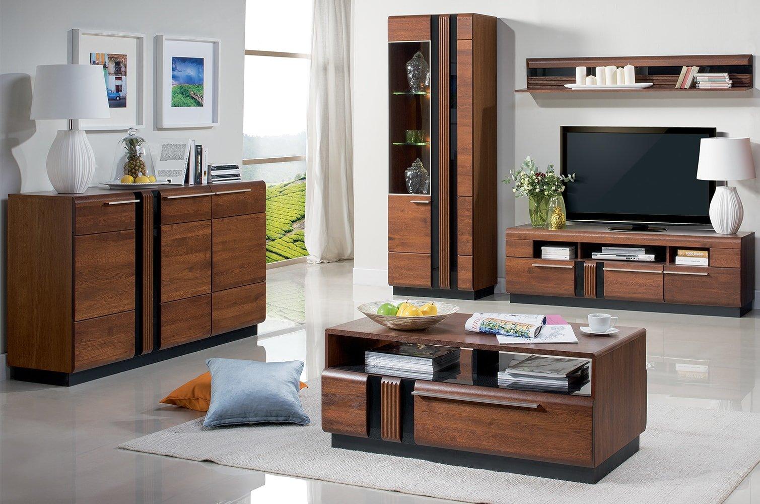 nowoczesne eleganckie meble do pokoju dziennego z drewna porti