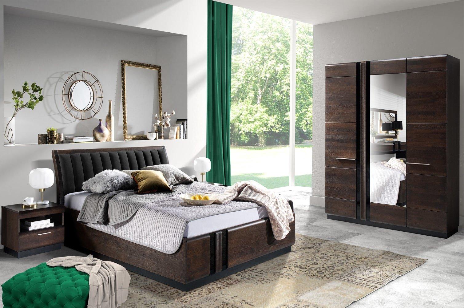 meble do sypialni drewniane dąb czekoladowe porti