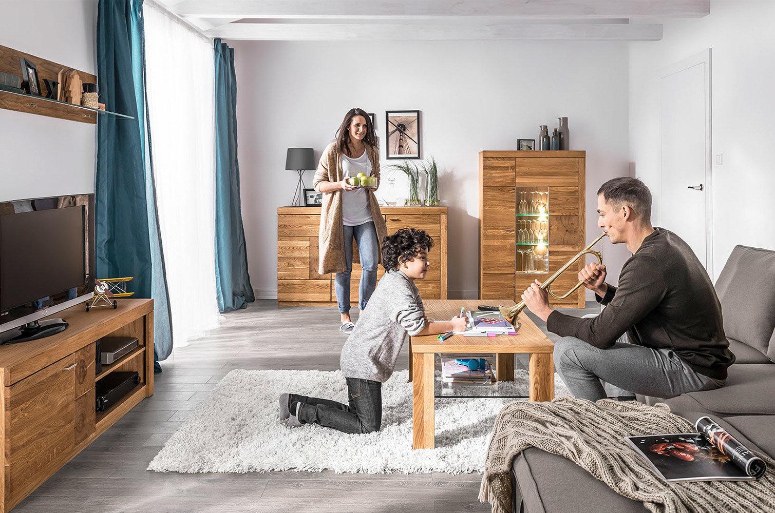 nowoczesne drewniane meble do pokoju dziennego velle