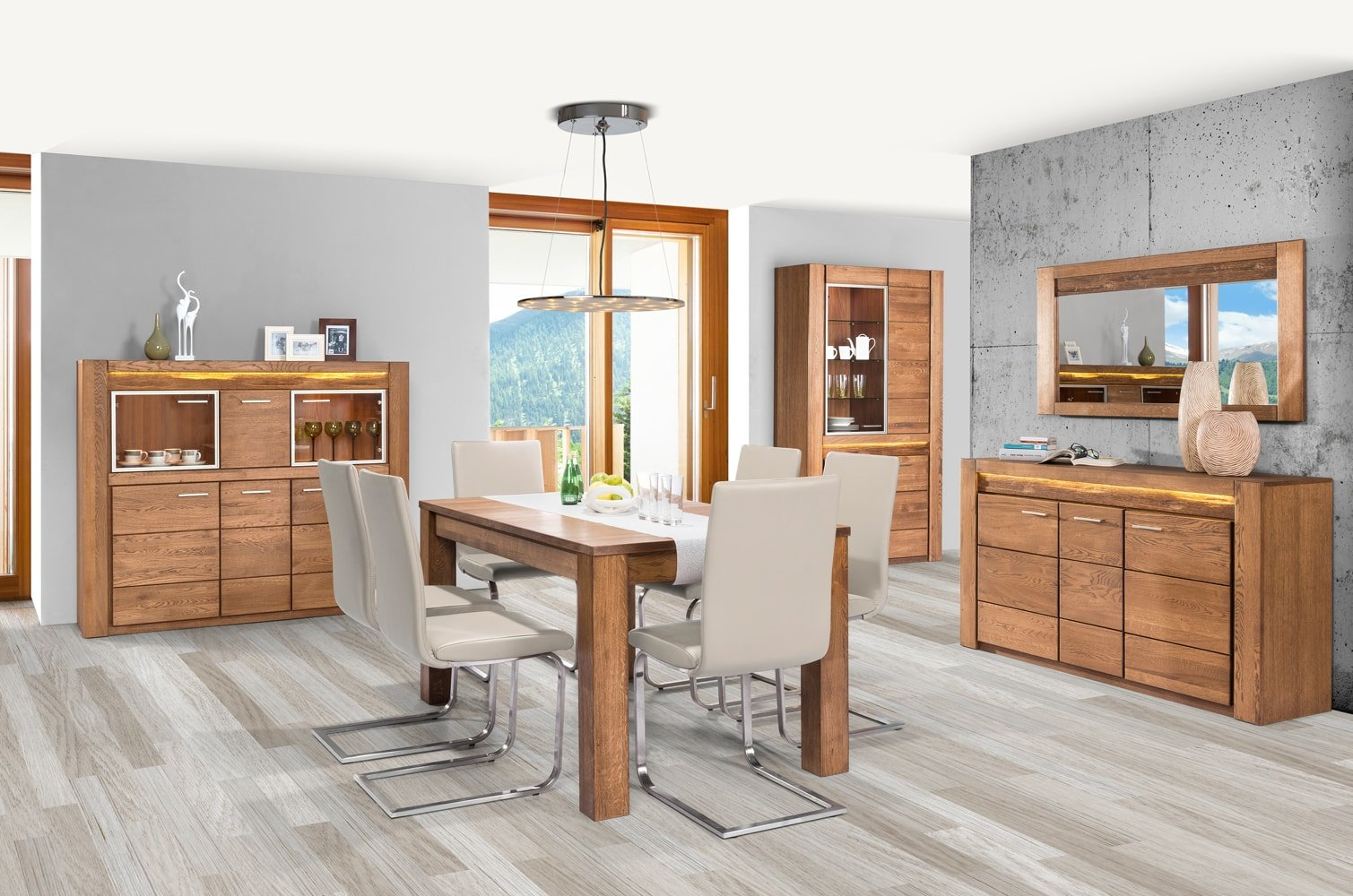 nowoczesne meble do salonu velvet drewno dąb rustical
