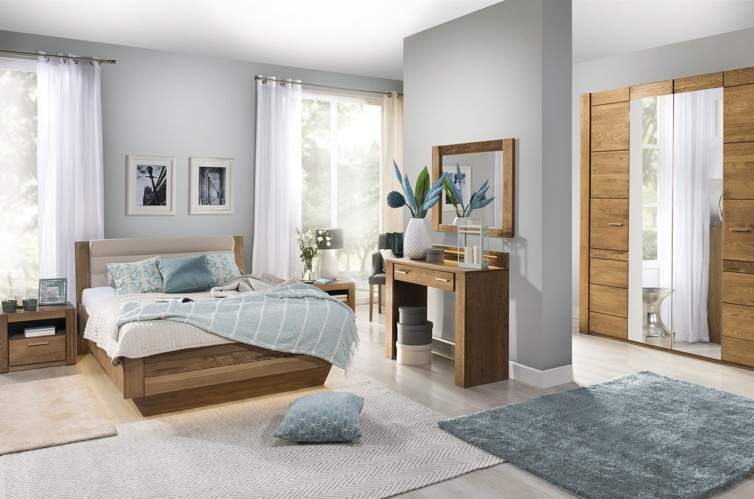 eleganckie drewniane meble do sypialni velvet