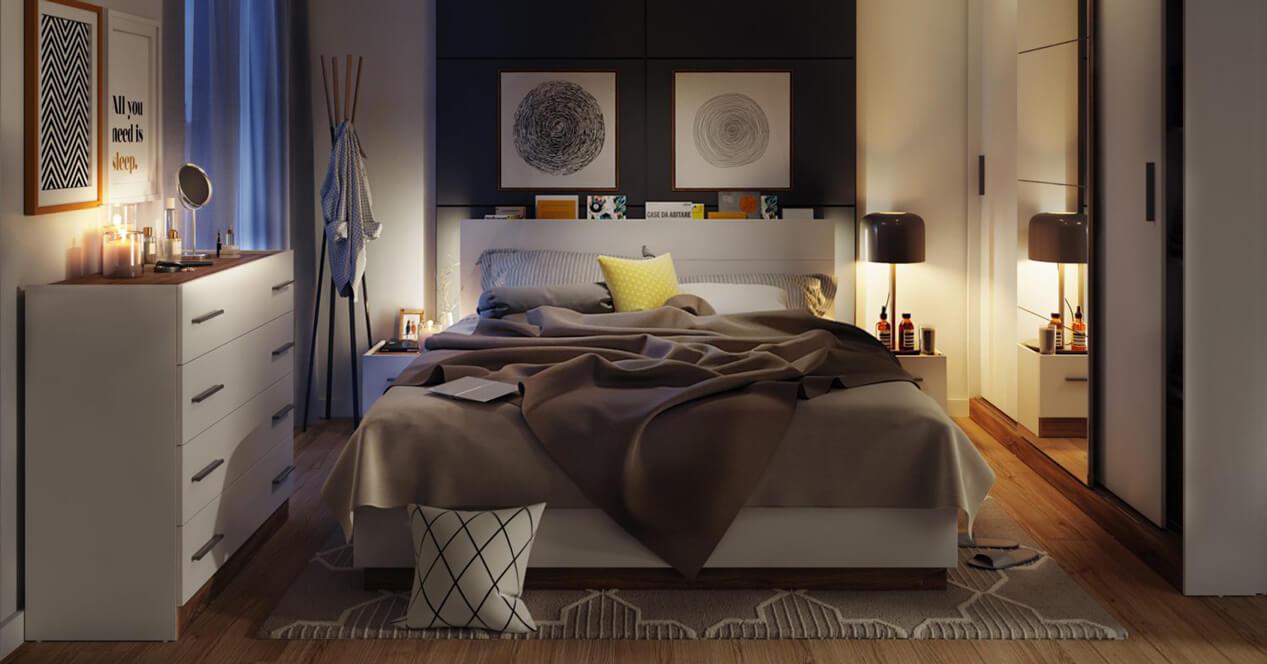 Nowoczesne białe meble do sypialni Dentro
